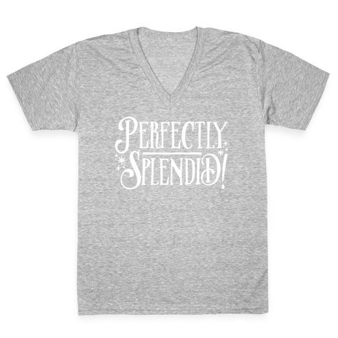 Perfectly Splendid White Print V-Neck Tee Shirt