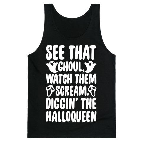 Halloween Dancing Queen Parody White Print Tank Top