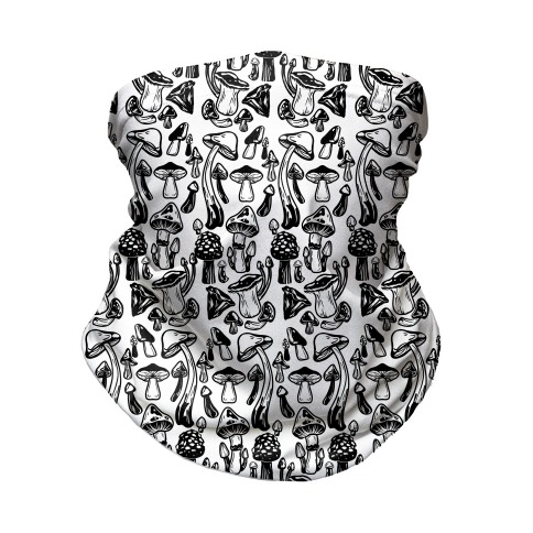 Black on White Mushroom Pattern Neck Gaiter
