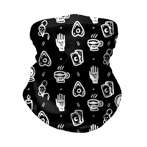 Tools of Divination Pattern Black Neck Gaiter