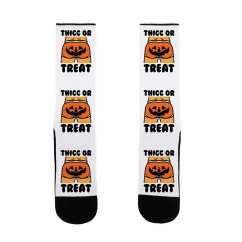 Thicc Or Treat Pumpkin Butt Sock