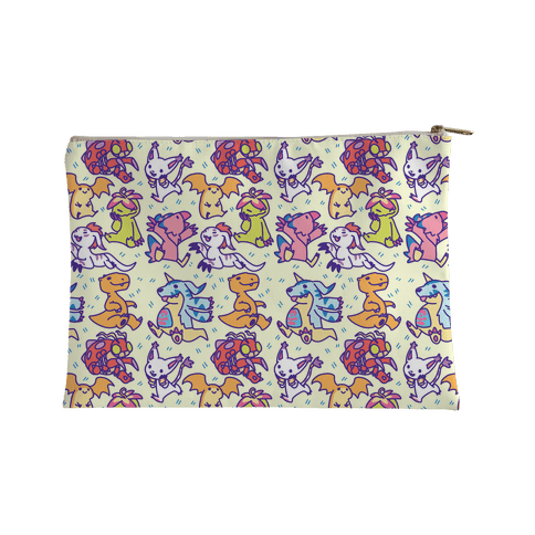 Digital Monsters Pattern Accessory Bag