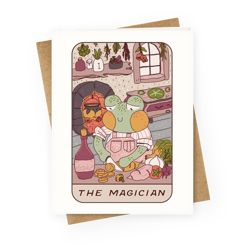 Cottagecore Magician Tarot Card Greeting Card