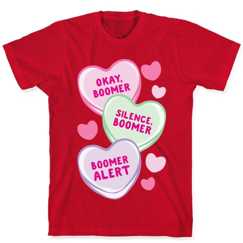 Okay Boomer Conversation Hearts White Print T-Shirt