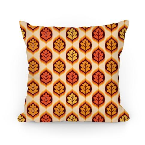 Vintage Autumn Leaves Pattern Pillow