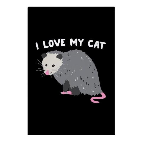 I Love My Cat Opossum Garden Flag