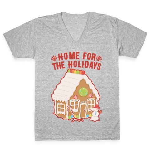 Home For The Holidays Gingerbread V-Neck Tee Shirt
