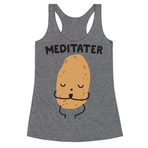 Meditater Meditating Potato Racerback Tank Top