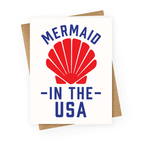 Mermaid In The USA Greeting Card