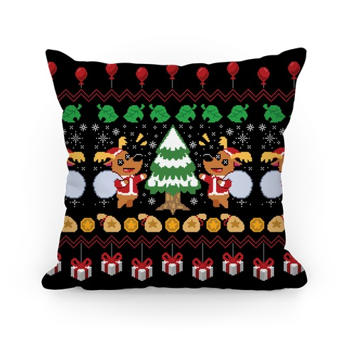 Jingle Animal Crossing Ugly Sweater Pillow