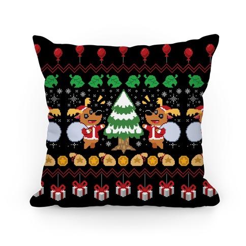 Jingle Deer Ugly Sweater Pillow