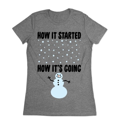 How It Started How It's Going Snowman Womens T-Shirt