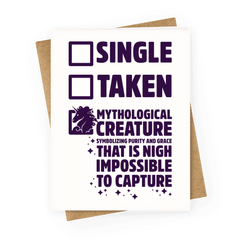 Single Taken Mythological Creature Greeting Card