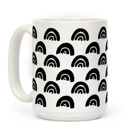 Black and White Rainbow Boho Pattern Coffee Mug