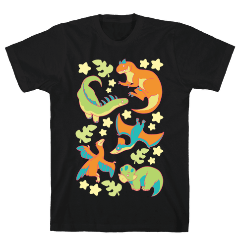 Funky Dinosaur Friends Mens T-Shirt