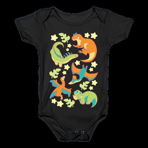 Funky Dinosaur Friends Baby Onesy