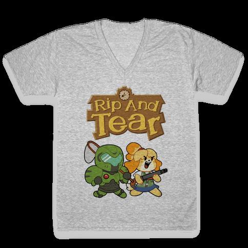 Rip And Tear V-Neck Tee Shirt