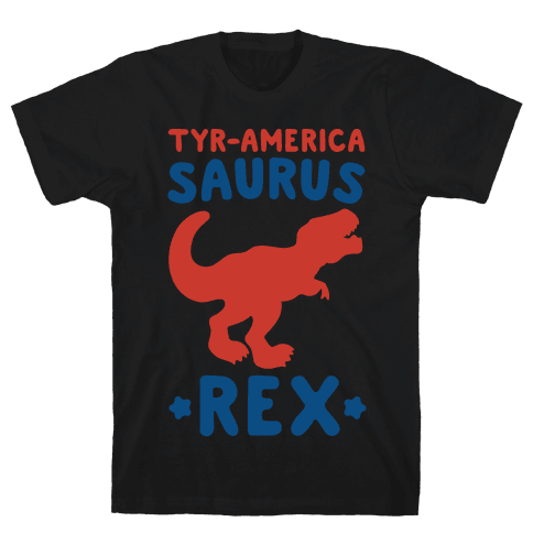 Tyr-America-Saurus Rex Parody White Print Mens T-Shirt
