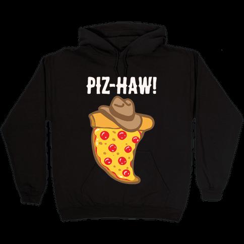 Piz-Haw Parody White Print Hooded Sweatshirt