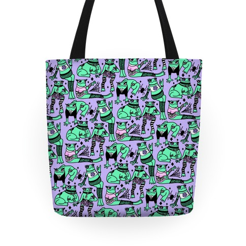 Goth Frogs Pattern Tote