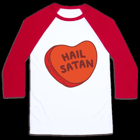 Hail Satan Conversation Heart Valentine's Parody Baseball Tee