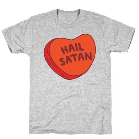 Hail Satan Conversation Heart Valentine's Parody T-Shirt