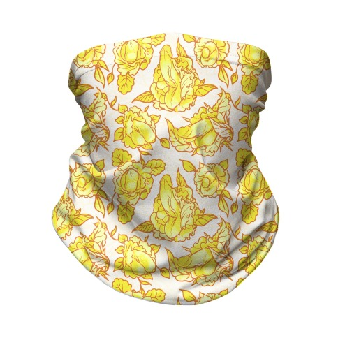 Floral Penis Pattern Yellow Neck Gaiter