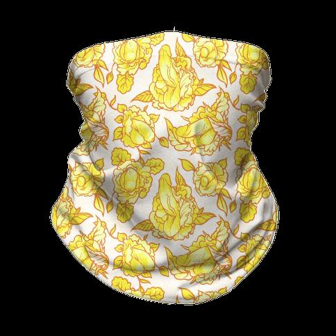 Floral Penis Pattern Yellow Neck Gaiter