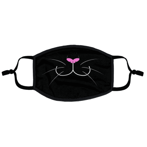 Black Cat Mouth Flat Face Mask