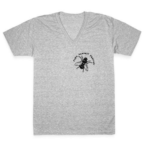 Flies Against Fascism V-Neck Tee Shirt