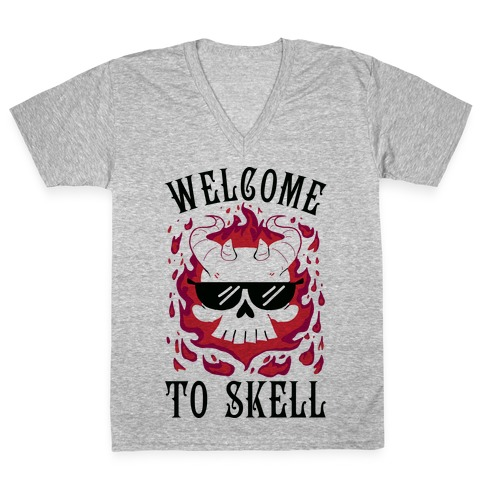 Welcome To Skell V-Neck Tee Shirt