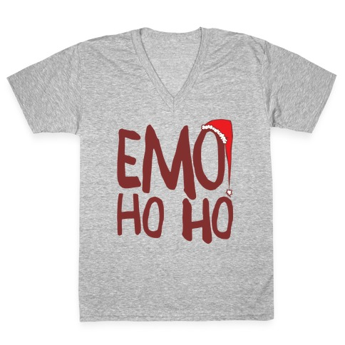 Emo Ho Ho White Print V-Neck Tee Shirt