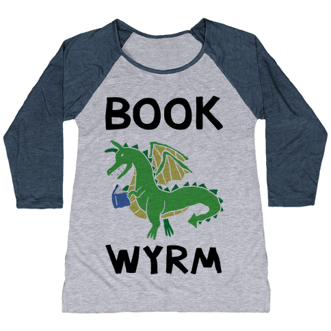 Book Wyrm Dragon Baseball Tee