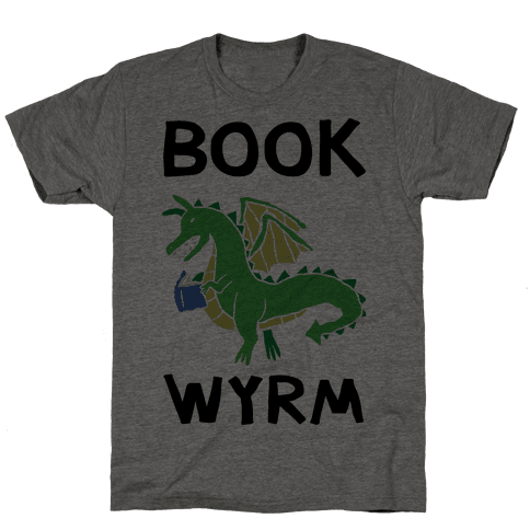 Book Wyrm Dragon Mens T-Shirt