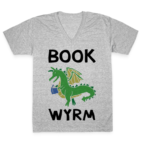Book Wyrm Dragon V-Neck Tee Shirt