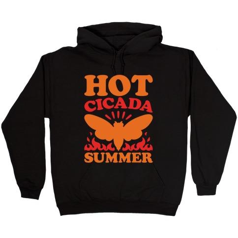 Hot Cicada Summer Parody White Print Hooded Sweatshirt