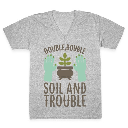 Double Double Soil And Trouble Parody White Print V-Neck Tee Shirt