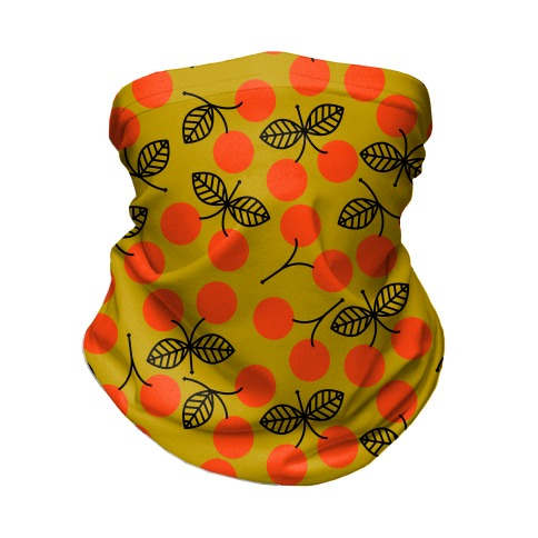 Vintage Cherry Yellow Pattern Neck Gaiter
