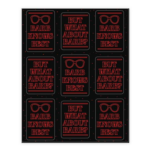 But What About Barb Sticker Sheet Sticker/Decal Sheet