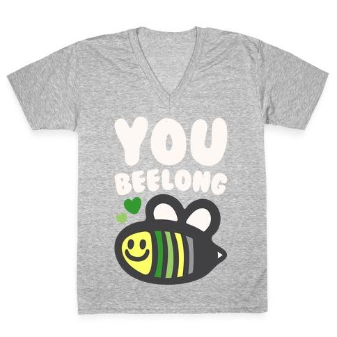 Bee Yourself Aromantic Pride White Print V-Neck Tee Shirt