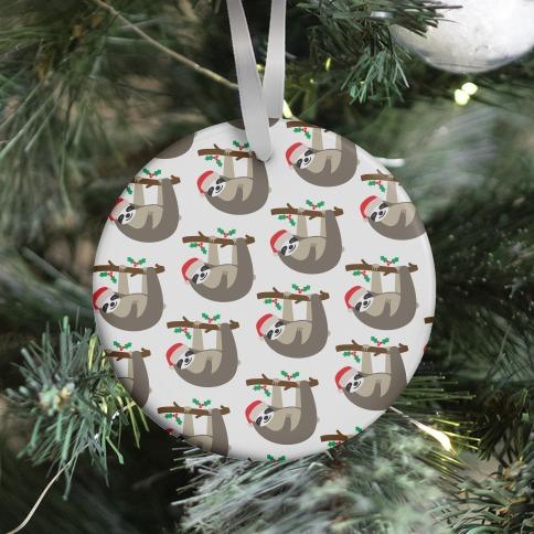 Christmas Sloth Pattern Ornament