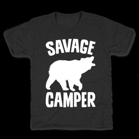 Savage Camper White Print Kids T-Shirt