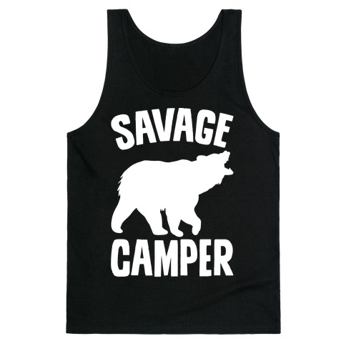 Savage Camper White Print Tank Top