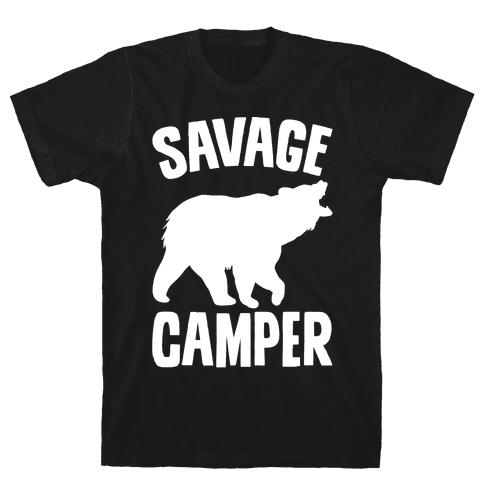 Savage Camper White Print Mens T-Shirt