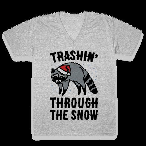 Trashin' Through The Snow Raccoon Parody V-Neck Tee Shirt