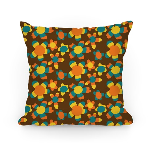 Retro Flower Power Pattern Pillow