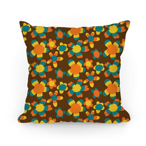 Retro Flower Power Pattern Pillow