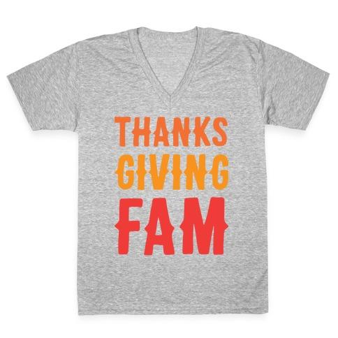 Thanksgiving Fam V-Neck Tee Shirt