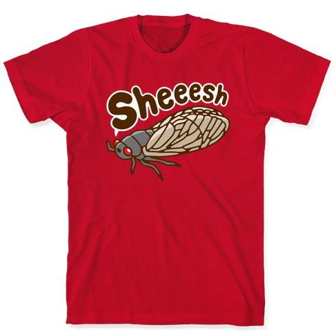 Sheeesh Cicada White Print T-Shirt