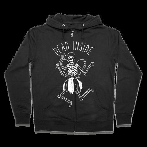 Dead Inside Skeleton Fairy Zip Hoodie